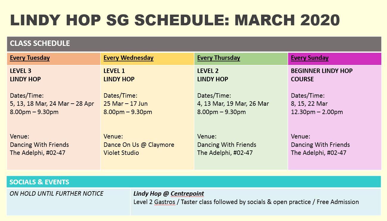 Lindy Hop Singapore - Class Schedule